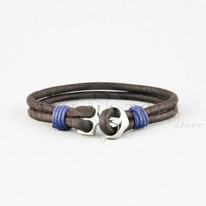 кожаный браслет с застежкой-якорем