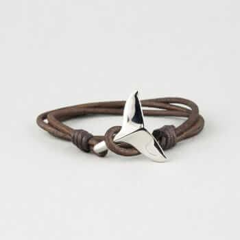 Кожаный браслет с застежкой в виде хвоста дельфина
