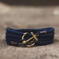 Синий браслет с якорем 4 оборота