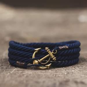 Желто синий браслет с якорем 3оборота