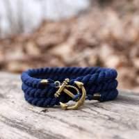 Браслет синего цвета с якорем 3 оборота в комплекте со скидкой
