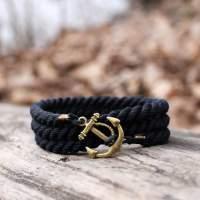 Черный браслет с якорем. 3 оборота