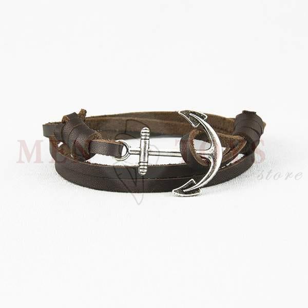 темно коричневый кожаный браслет с якорем