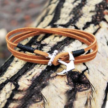 Кожаный браслет с якорем. 3 цвета