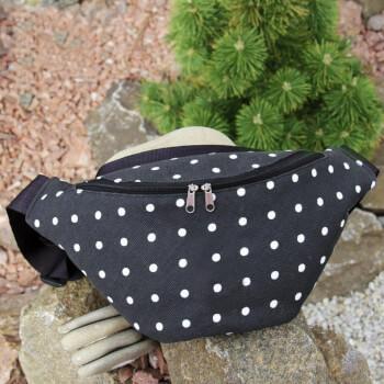 Черная поясная сумка в белый горошек