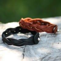 Плетеный кожаный браслет ручной работы в комплекте со скидкой