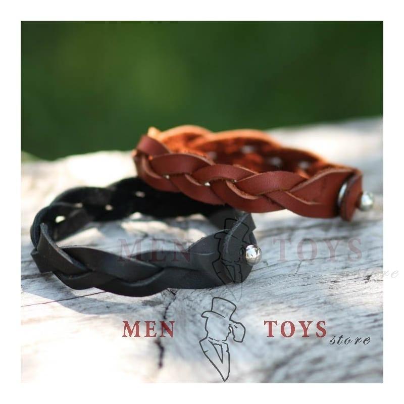 плетеный кожаный браслет ручной работы