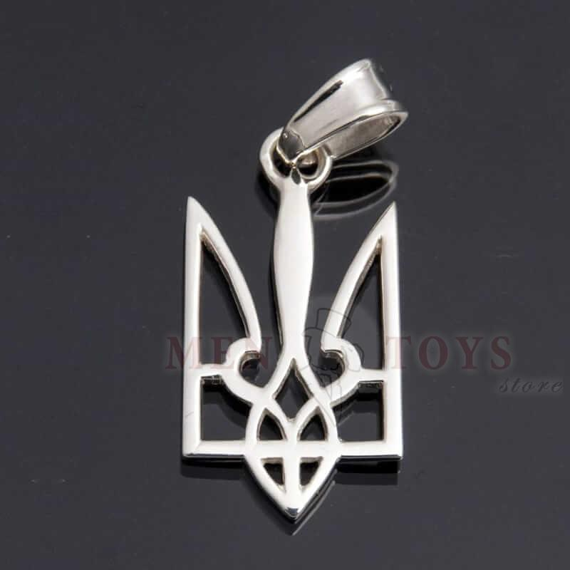 кулон в форме тризуба - герба украины, серебро