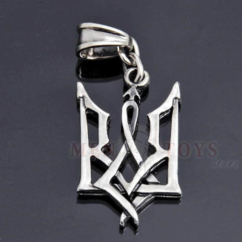 серебрянный кулон тризуб, герб украины