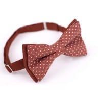 Коричневая галстук бабочка в горошек в комплекте со скидкой