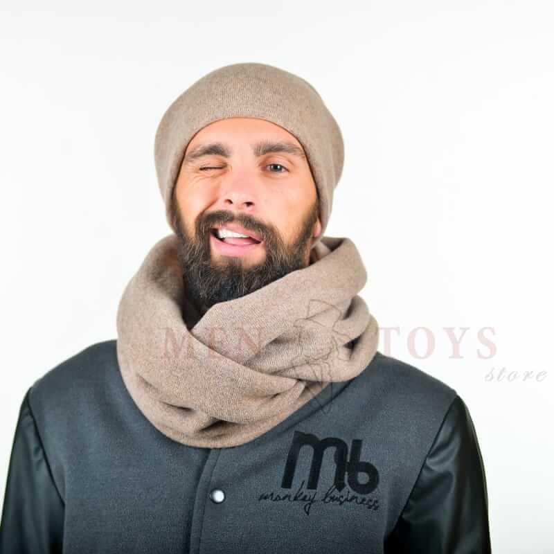 мужской снуд в комплекте с шапкой из шерсти