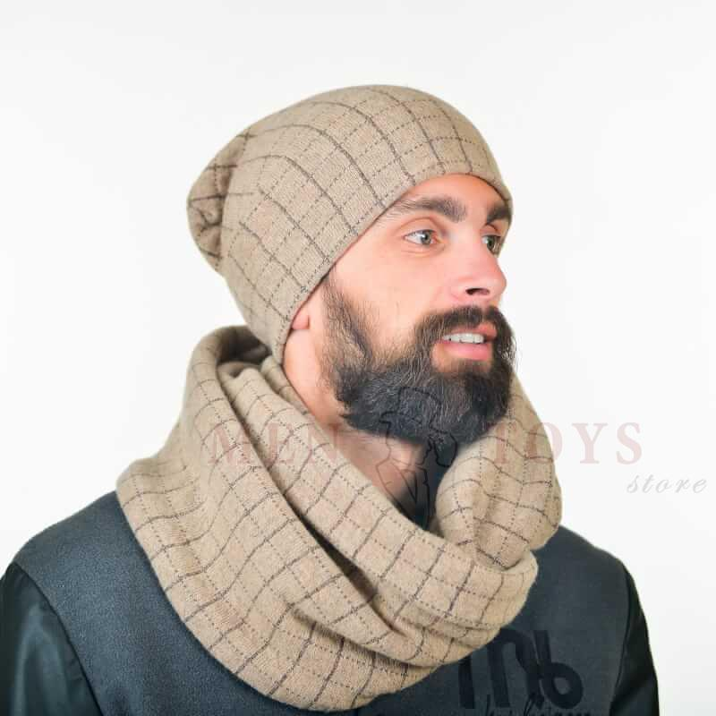 теплый мужской снуд в комплекте с шапкой