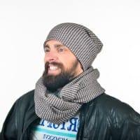 Светлый мужской снуд в комплекте с шапкой в узор
