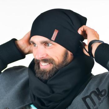 Черный мужской снуд и шапка