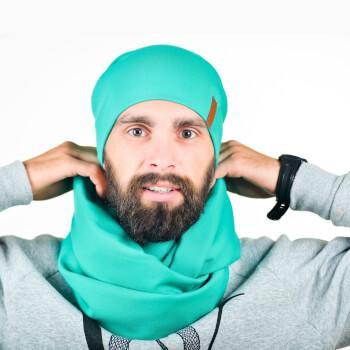 Мужской снуд мятного цвета и шапка в комплекте