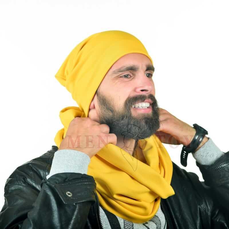шарф для мужчин желтого цвета с шапкой