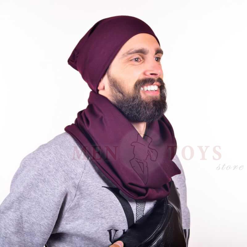 мужские шарф и шапка баклажанного оттенка