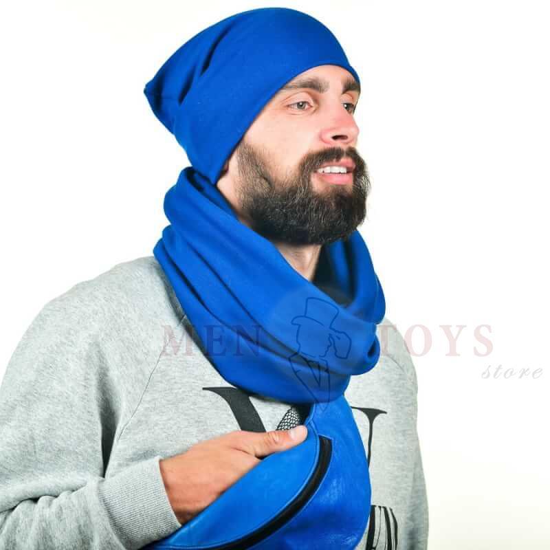 синий шарф и шапка в комплекте