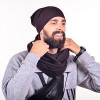Коричневый мужской снуд и шапочка