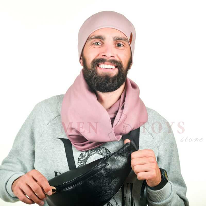 бежевый мужской снуд и шапочка