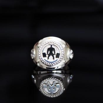 Печатка, кольцо с пауэрлифтером из серебра