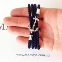 Синий браслет с якорем из серебра 925 пробы