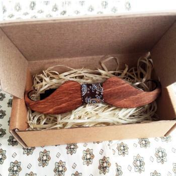 Деревянная бабочка Усы с узором пейсли