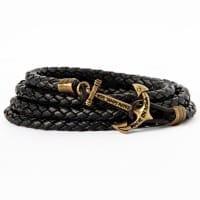 Плетеный браслет из кожи черного цвета в комплекте со скидкой