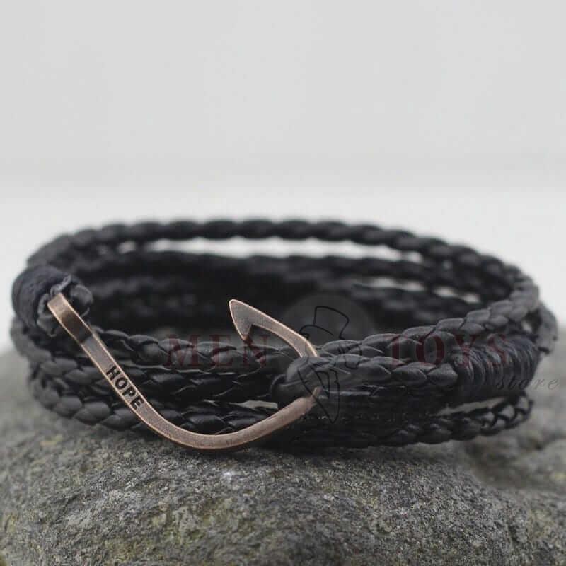 плетеные браслеты из экокожи с крючком