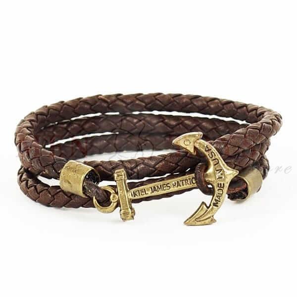 коричневый браслет с якорем из плетеной кожи