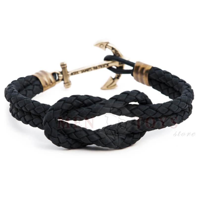 черный кожаный браслет с якорем kiel james patrick и узлом