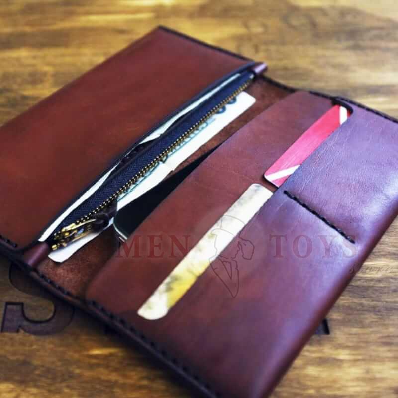 портмоне ручной работы с молнией и карманами