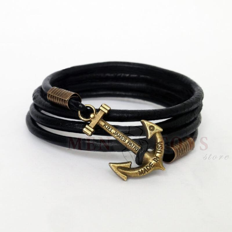 черный кожаный браслет с якорем