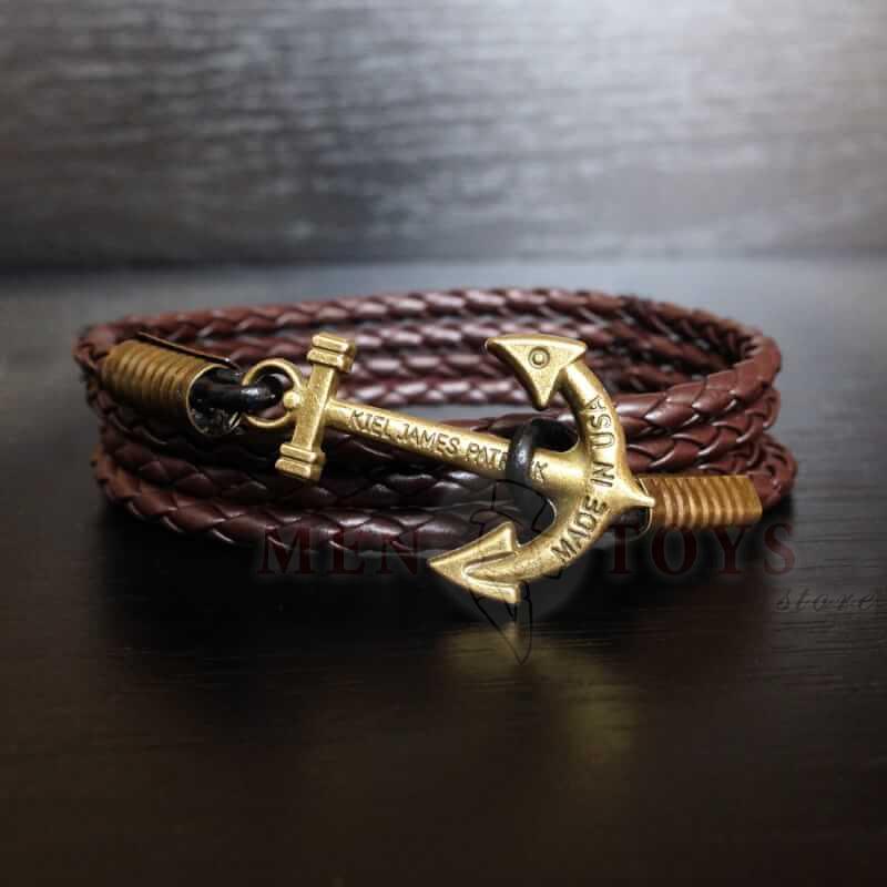 коричневый браслет с якорем из экокожи