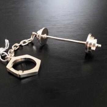 Брелок для ключей штанга, серебро