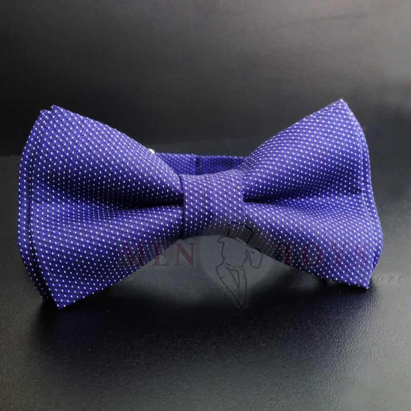 синяя галстук бабочка в горох с узором
