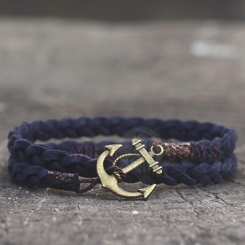 темно-синий браслет из натуральной замши с якорем