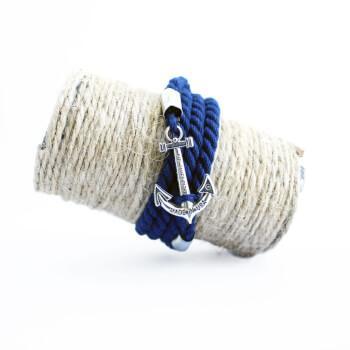 Темно-синий браслет с якорем под серебро Kiel James Patrick
