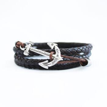Темно-коричневый кожаный браслет с якорем серебряного цвета
