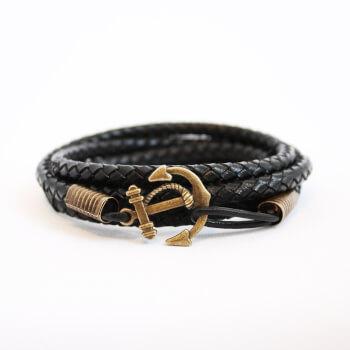 Черный браслет из натуральной кожи с якорем