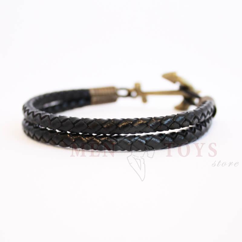 черный двойной кожаный браслет с якорем