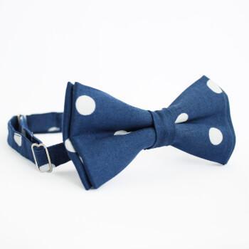 Синяя галстук-бабочка в белый горох