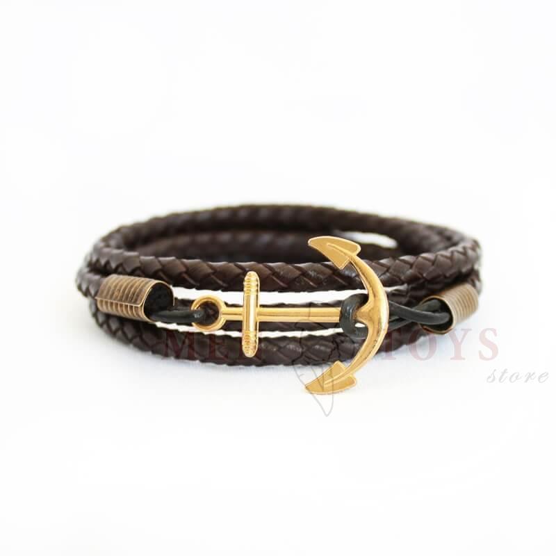 плетеный кожаный браслет с якорем под золото