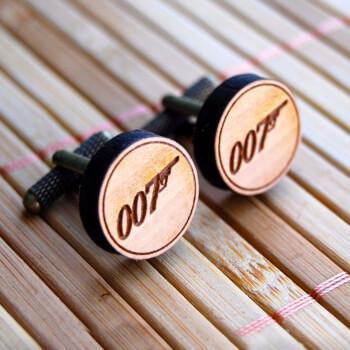 Круглые деревянные запонки Bond 007