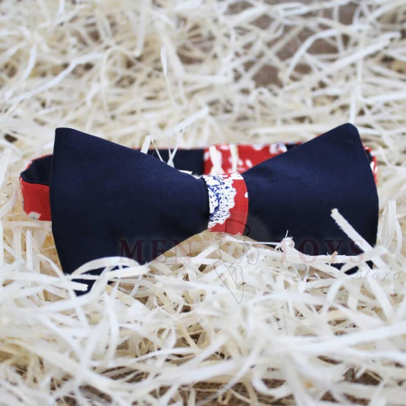 галстук-бабочка двусторонняя в красный цветок