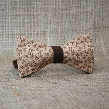 Двусторонняя галстук бабочка коричневая с узором