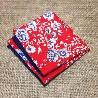 Яркий мужской платок паше красного и снего цветов в комплекте со скидкой