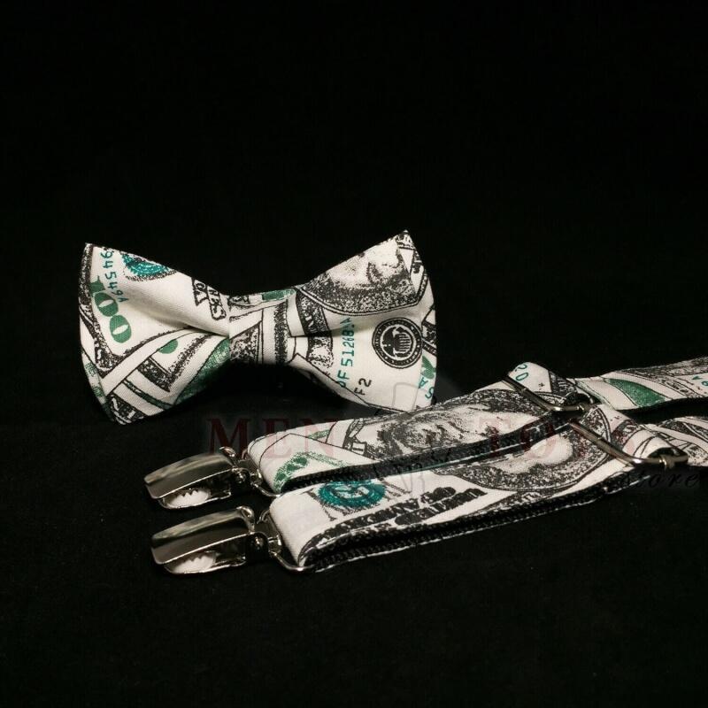 необычные подтяжки и бабочка с узором доллар