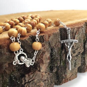 Деревянные бусы розарий с крестиком
