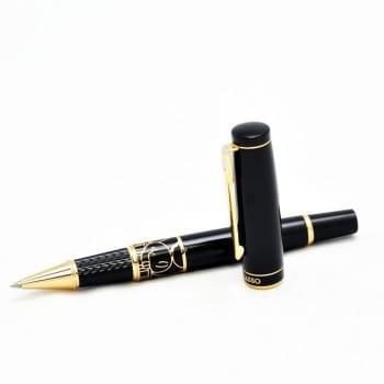Ручка-роллер черного цвета c узором. Классика